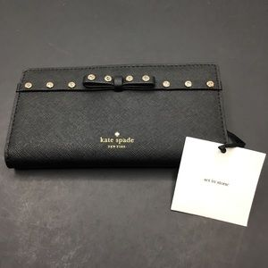 Kate Spade Laurel Way jeweled black wallet New